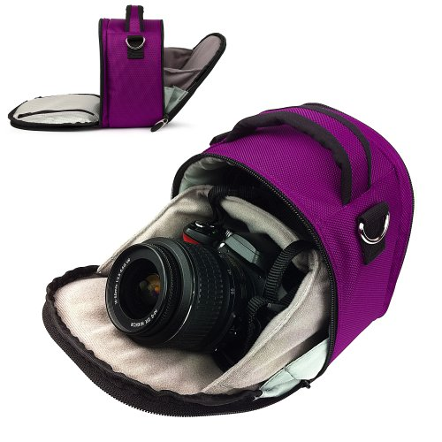 PURPLE PLUM Travel Luxury VanGoddy Laurel Compact DSLR & SLR Designed Small Camera Bag Design (Plum Compact)