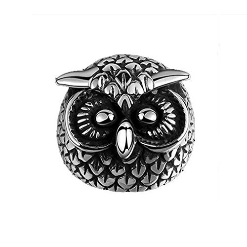 stainless steel owl ring - 8