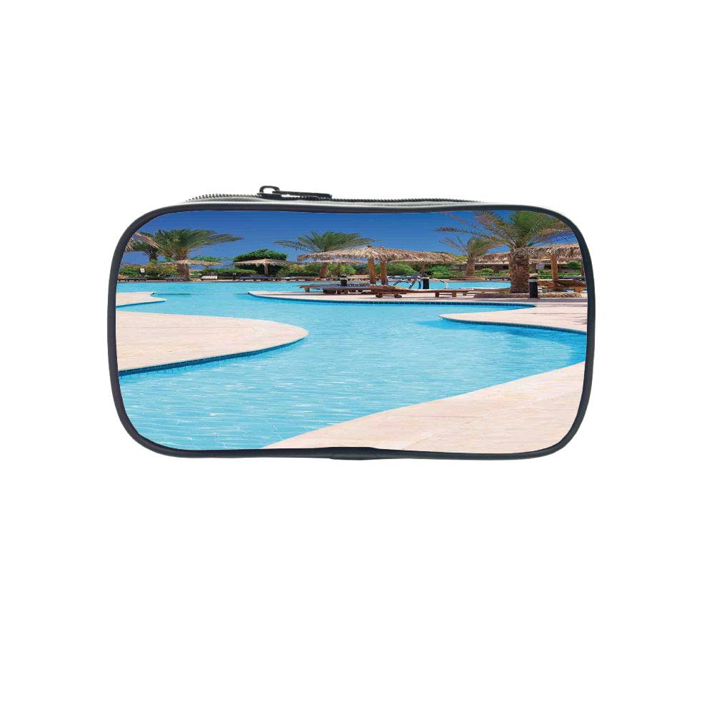 Diversified Style Pen Bag,House Decor,Swimming Pool of Luxury Hotel Resort Holiday Relaxation Tourism Tourist Attractions,for Children,3D Print Design