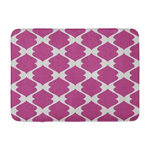 - Geometric Patterns,Darkchocl Decorative Bath Mat Abstract Seamless Ornament Pattern Absorbent Non Slip 100% Flannel 17''L x 24''W for Bathroom Toilet Bath Tub Living Room