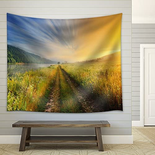 Fantastic Foggy River with Fresh Green Grass in The Sunlight Fabric Wall