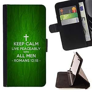 BullDog Case - FOR/LG OPTIMUS L90 / - / KEEP CALM AND LIVE PEACEABLY - ROMANS 12:18 /- Monedero de cuero de la PU Llevar cubierta de la caja con el ID Credit Card Slots Flip funda de cuer