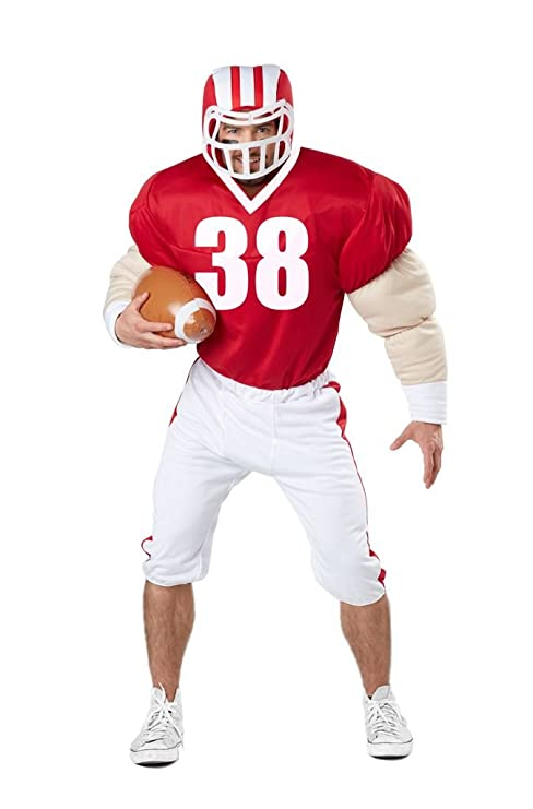 fc98e4206617 American Football Costume + casque boule Taille adulte homme S/M 38 ...