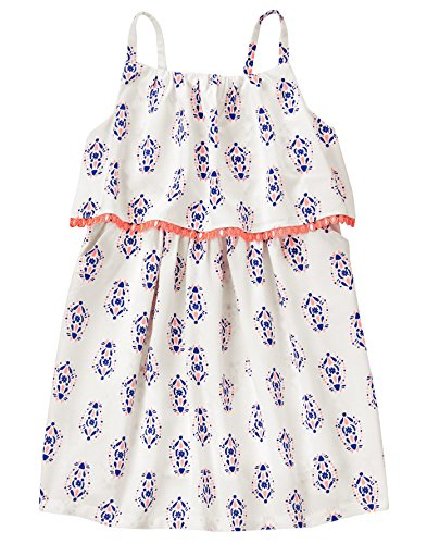 Crazy 8 Baby Toddler Girls' Wvn Tiered Tassle Trim Mosaic Dress, Jet Ivory, (Tiered Trim)