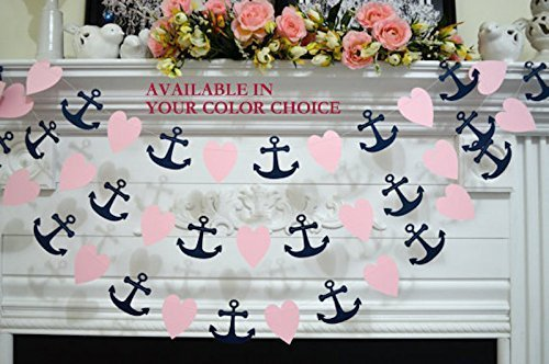 Paper-Heart-and-Anchor-garland-wedding-decorations-nautical-anchor-garland-navy-blush-pink-bridal-shower-decor-beach-wedding-decor