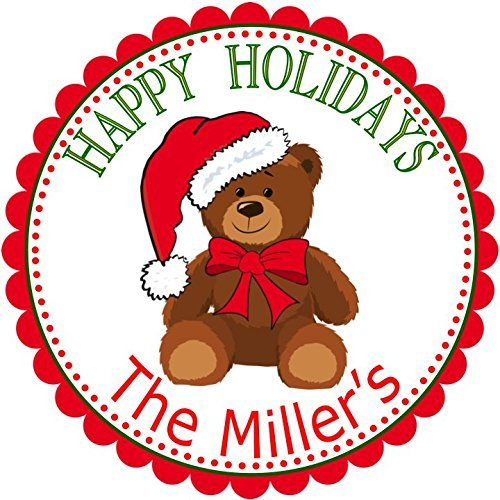 40 Personalized Christmas Teddy Bear LABELS Gift labels Holiday STICKERS Christmas Return Address SIZE OF CHOICE