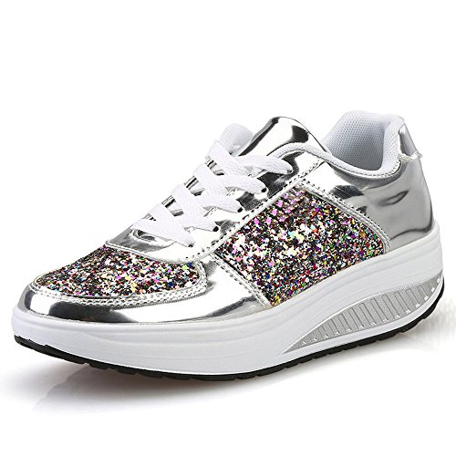 (Nevera Women's Casual Wedges Sneakers Sequins Ladies Fashion Sport Walking Shoes Silver)