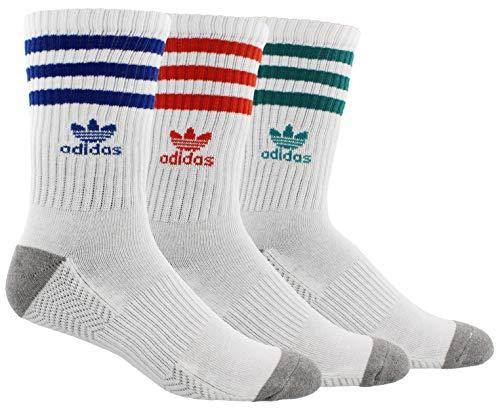 adidas Originals Men's Roller Crew Socks (3-Pair), White/Collegiate Royal/Hi - Res Red/Eqt Green/Heathe, Large, (Shoe Size 6-12) (Adidas Jeans Men)