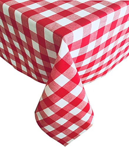 Tablecloths Check Round (Newbridge Buffalo Check Indoor/Outdoor Cotton Tablecloth - Cottage Style Gingham Check Pattern Tablecloth 60 Round, Red)