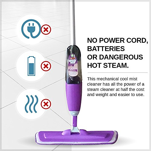 Vorfreude – Floor Mop with Integrated Spray and – Included Refillable 700Ml Capacity Bottle and Reusable Microfibre Pad - 7