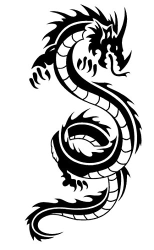 Newclew Japanese Chinese Tribal DRAGON flying Black or White Sticker Decal Notebook Car Laptop Art Bumper Sticker (Chinese Dragon Vinyl)