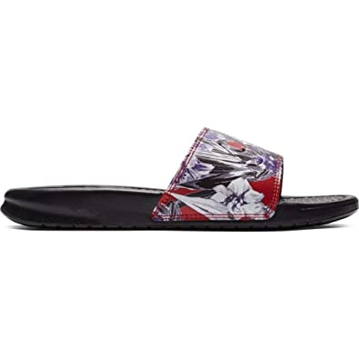 new product 5dd36 4ca0b Nike Women s WMNS Benassi JDI Print Beach   Pool Shoes, Multicolour (Black  Team