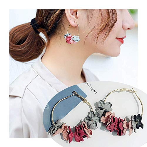 Heart Elegant Style (palettei Korean Style Elegant Fabric Flower Hoop Dangle Earrings Sweety Petal Alloy Circle Big Drop Earrings Charm Brinco Women (Colour))