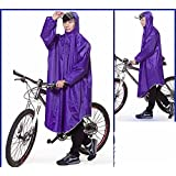 RFVBNM Poncho Bike Electric car not Wet face Raincoat Single Fashion Big Hat Sleeve Thickening Increase