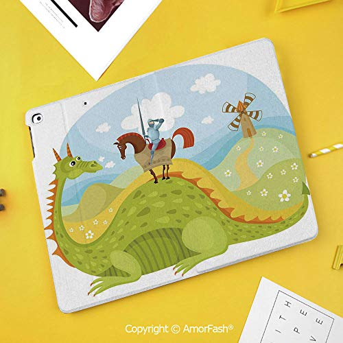 Slim Case for Samsung Galaxy Tab S4 T830 T835 SM-T837 10.5 Protective,Fantasy,Knight Don Quixote with Horse on Dragon Valley Medieval Fairytale Image, Green Sky Blue]()