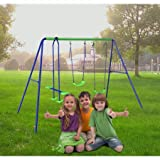 HLC Outdoor Children Folding Swing Set with 2 Baby Swing & Seesaw, Best Birthday Gif
