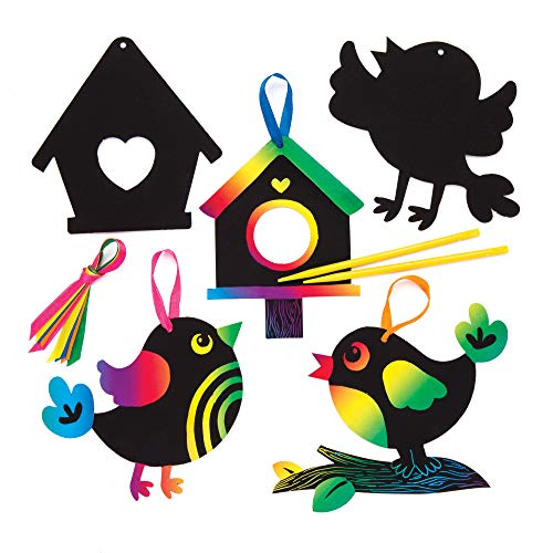 Baker Ross Bird Scratch Art Decorations (Pack of 10) Spring Themed Crafts for Kids to Decorate and Display