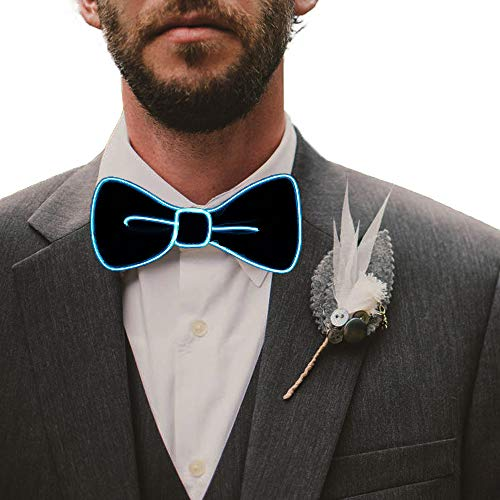 Fixinus LED Light Up Bow Tie Perfect for Christmas Halloween New Years Music Festival Rave Party (Aqua)