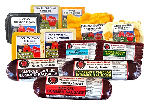 Wi Deluxe Sticks, Sausage and Cheese, Cheese Curd Party Pack (7 Lbs) by Wisconsin's Best