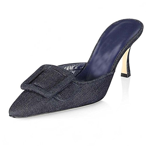 Ayercony Slide Sandal, Woman's Buckle Mule Slipper Kitten Heel Mules Pointed Toe Slides Knot Shoes for Dress Party Navy Blue 8.5CM Size 9.5 US ()