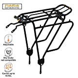 Ibera Bike Rack - Bicycle Touring Carrier Plus+ for Non-Disc Brake Mount, Frame-Mounted for Heavier Top & Side Loads, Height Adjustable for 26''-29'' Frames