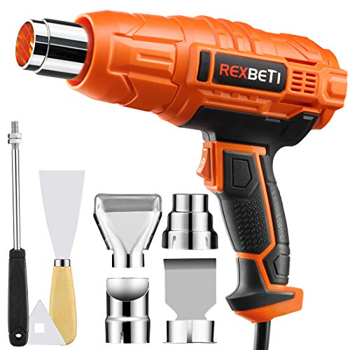 REXBETI Dual Temperature Heat Gun with 7 Multi-purpose Attachments, Max Temperature up to 1210°F, High Power Hot Air Gun with Overload Protection, Perfect for Crafts, Shrinking PVC, Stripping (High Temperature Air)