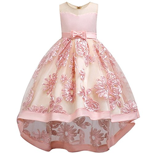 WEONEDREAM Flower Dresses for Teenage Girls Birthday Party Casual Holiday Prom Princess Ball Gowns Size of Age of 8-9 Years Old Teen Fashion Beauty (Peach 140) -