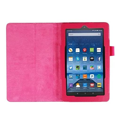 Amazon Fire 7 Case, SATURCASE PU Leather Flip Folding Folio Stand Protective Case Cover for Amazon Kindle Fire 7 Tablet (7.0 inch HD Display – 2015 release) Rose