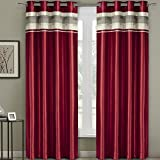 Pair of Two Top Grommet Blackout Thermal Insulated Curtain Panels, Triple-Pass Foam Back Layer, Elegant and Contemporary Milan Blackout Multilayer Energy Saving Panels, Red, Set of Two, 54
