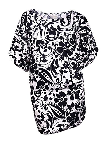 Anne Cole Women's Antigua Floral Print Kangaroo Puch Caftan Cover Up, Multi, Large/X-Large