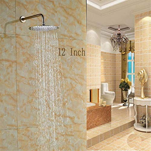 Bestyunyu Ultrathin 12-Inch Brushed Nickel Rainfall Top Shower Head with Shower Arm
