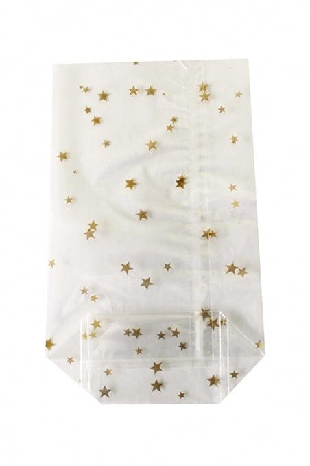 100 Cellophanbeutel OPP für Gebäck mit Boden 115 x 190  Zellglasbeutel Sterne