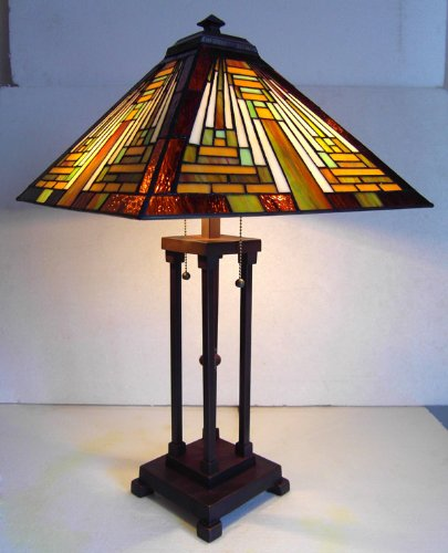 (Chloe Lighting CH23B1118TLTiffany CH231118G-TL2 -Style Mission 2-Light Table Lamp with Shade, 16