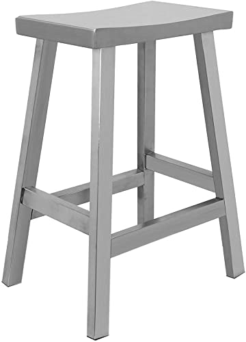 IRICA Stainless Steel Saddle Seat Counter Hgt Bar Stool, Satin Brushed Finish, 24 inches Seat Hgt, Commercial Quality, Indoor Porch Use, 1 Pack