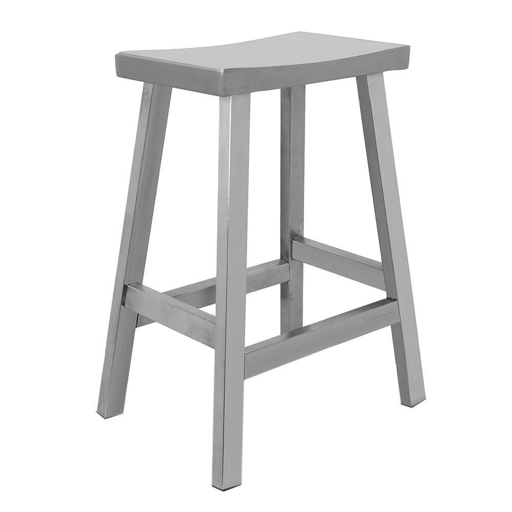 IRICA Stainless Steel Saddle Seat Counter Hgt Bar Stool, Commercial Quality, Satin Brushed Finish, 24 inches Seat Hgt, Indoor Porch Use, 1 Pack by IRICA