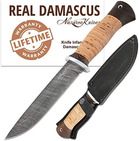 Fixed Blade Knives – Infantryman Standard Edition – Birchbark Handle – Leather Sheath – Damascus and D2 Steel Knife