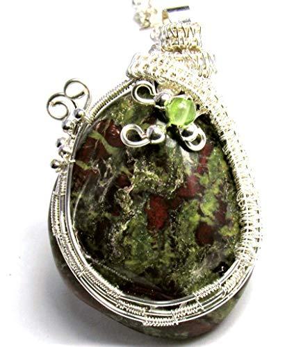 Red & Green Jasper Teardrop Wire Wrapped Pendant Necklace - Red Jasper Drop Pendant