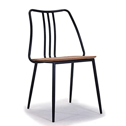 Amazon.com: WXL Solid Wood American Retro Wrought Iron Dining Chair ...