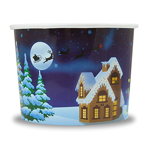 Christmas Themed Paper Dessert Cups - 12 oz Holiday Ice Cream Bowls - Santa Claus is Coming to Town - Frozen Dessert Supplies - Fast Shipping! 50 Count