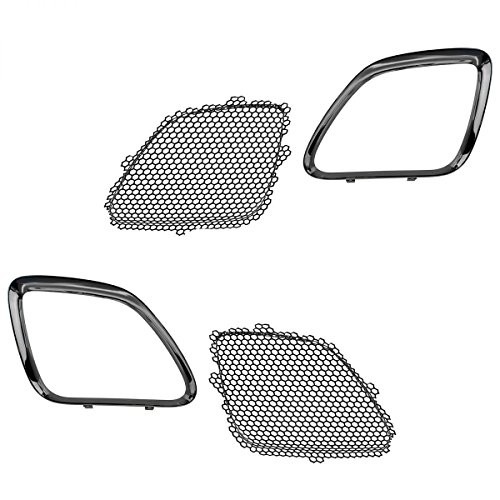 DAT AUTO PARTS 4PC Set Replacement for 05-09 Pontiac G6 Front Upper Chrome Grille Black Honey Comb Inserts - 2 MESH GRILLES, 2 Outer Silver Trim