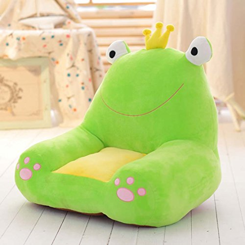 MAXYOYO Cute Dog/Elephant/Frog/Horse Colorful Stuffed Plush Toy Bean Bag Chair,Bear Sofa Seat for Children,Birthday Gift for Boys and Girls (frog)
