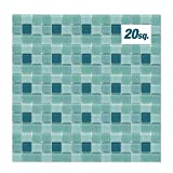 EACHPOLE Glossy Finish Bathroom Kitchen Home Décor Pool Glass Tile Sheets Mesh Backing 3 Shades of Blue Multicolored Mosaic, APL2039