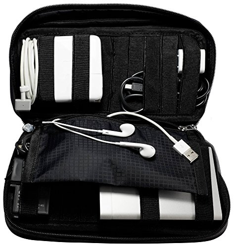 Zero Grid Electronics Travel Organizer - Cord, Cable, and Accessories Case, Black