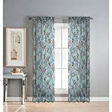Window Elements Ashville Printed Extra Wide 54 x 84 in. Rod Pocket Sheer Curtain Panel, Blue For Sale