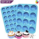 Silicone Muffin and Cupcake Pans – Set of 2 | Cake Molds | Large (12) and Mini (24) | Easy to Clean Non Stick Bakeware | BPA Free and Dishwasher Safe by Lucentee