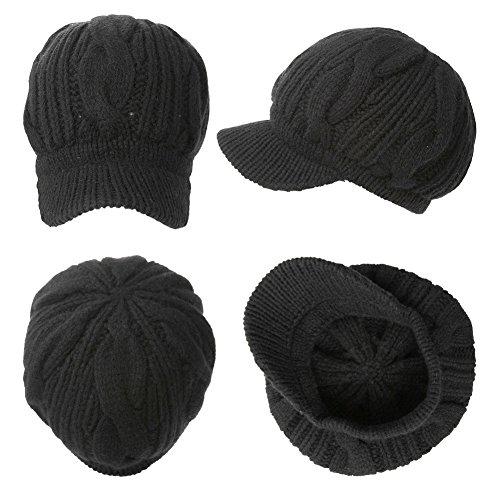 f5e13a5bba5 SIGGI 100% Merino Wool Newsboy Cap Winter Hat Black Beret with - Import It  All