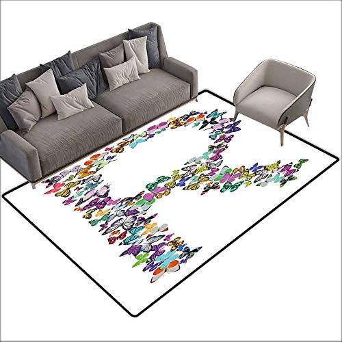 Non-Slip Modern Carpet Letter R,Collection of Butterflies in The Shape of Uppercase Letter Nature Inspired Font,Multicolor 80