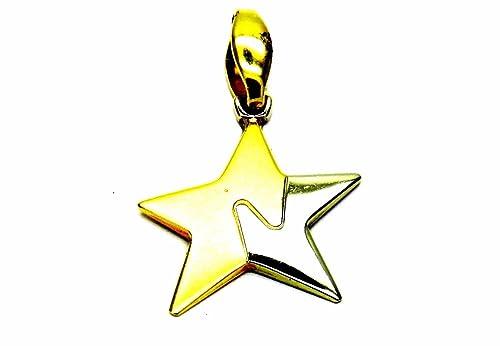 d5ff776ccf2b Pegaso joyas - colgante oro blanco y amarillo 18 kt estrella brillante y  satinado - colgante bicolor mujer niña  Amazon.es  Joyería