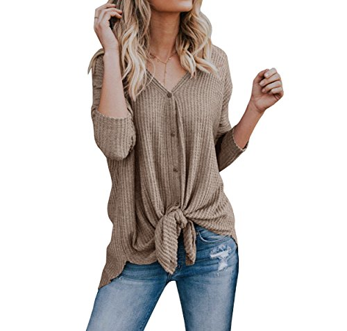 Imily Bela Womens Waffle Knit Tunic Blouse Tie Knot Henley Tops Bat Wing Plain Shirts (Knit Pointelle Top)