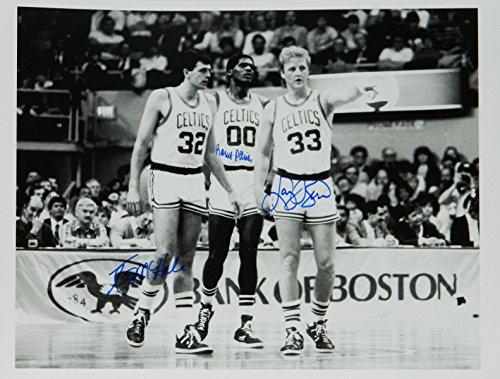 Larry Bird, Kevin McHale & Robert Parish Signed Boston Black & White In Game 17x21 ()